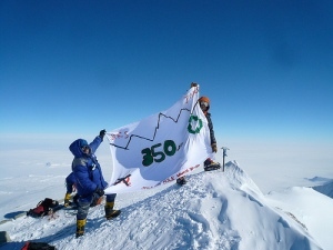 350 Flag on Antarctica's Highest Peak